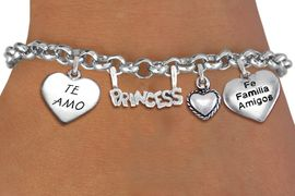 "<BR> WHOLESALE 15TH BIRTHDAY BRACELET <bR>                EXCLUSIVELY OURS!!<Br>               LEAD & NICKEL FREE!!<BR>W20902B - QUINCEA&#209;ERA 15 THEMED <Br>SILVER TONE CHARM BRACELET WITH <BR>""TE AMO"", ""FE, FAMILIA, AMIGOS"" <BR>HEARTS AND ""PRINCESS"" CHARM <BR>       FROM $5.63 TO $12.50 �2013"