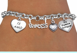 """<BR> WHOLESALE 15TH BIRTHDAY BRACELET <bR>                EXCLUSIVELY OURS!!<Br>               LEAD & NICKEL FREE!!<BR>W20902B - QUINCEA&#209;ERA 15 THEMED <Br>SILVER TONE CHARM BRACELET WITH <BR>""""TE AMO"""", """"FE, FAMILIA, AMIGOS"""" <BR>HEARTS AND """"PRINCESS"""" CHARM <BR>       FROM $5.63 TO $12.50 �2013"""