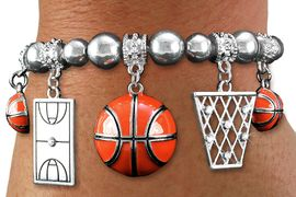 <BR> WHOLESALE SPORTS FASHION JEWELRY <Br>               LEAD & NICKEL FREE!! <BR> W20988B - DETAILED POLISHED SILVER <BR> TONE BASKETBALL THEMED, MULTI-CRYSTAL <Br> CHARMED STRETCH BRACELET <BR>         FROM $7.31 TO $16.25 �2013