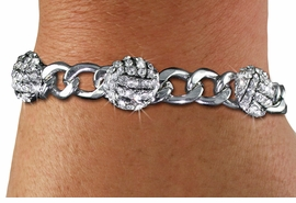 <BR> WHOLESALE SPORTS FASHION JEWELRY <Br>               LEAD & NICKEL FREE!! <BR> W21142B - BRIGHT, POLISHED SILVER <BR> TONE CHAIN LINK BRACELET WITH <Br>THREE CRYSTAL MINI VOLLEYBALL CHARMS <BR>         FROM $4.50 TO $10.00 �2013