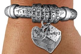 "<br> WHOLESALE FASHION INSPIRATIONAL JEWELRY<bR>     100% LEAD AND NICKEL FREE!!! <BR>    W21198B - STYLISH SILVER TONE <BR> ""FRIENDSHIP"" & ""HAPPINESS"" CHARM STRETCH <BR>  BRACELET FROM $10.13 TO $22.50 �2013"