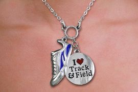 "<br>WHOLESALE FASHION TRACK & FIELD JEWELRY<bR>                   LEAD & NICKEL FREE!! <BR>W21204N - BEAUTIFUL SILVER TONE WINGED <BR>SNEAKER AND ""I LOVE TRACK & FIELD"" <BR> PENDANTS ON LOBSTER CLASP CHAIN NECKLACE <BR>              FROM $4.50 TO $10.00 �2014"