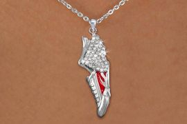 <br>WHOLESALE FASHION TRACK & FIELD JEWELRY<bR>                   LEAD & NICKEL FREE!! <BR>W21206N - BEAUTIFUL SILVER TONE AND CRYSTAL <BR> WINGED TRACK SNEAKER PENDANT ON SILVER <BR> TONE LOBSTER CLASP CHAIN NECKLACE <BR>              FROM $5.06 TO $11.25 �2014