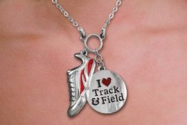 "<br>WHOLESALE FASHION TRACK & FIELD JEWELRY<bR>                   LEAD & NICKEL FREE!! <BR>W21207N - BEAUTIFUL SILVER TONE WINGED <BR>SNEAKER AND ""I LOVE TRACK & FIELD"" <BR> PENDANTS ON LOBSTER CLASP CHAIN NECKLACE <BR>              FROM $4.50 TO $10.00 �2014"