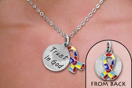 """<br>WHOLESALE FASHION AUTISM AWARENESS JEWELRY<bR>                   LEAD & NICKEL FREE!! <BR>W21208N - BEAUTIFUL SILVER TONE TWO CHARM <BR> """"TRUST IN GOD"""" AND AUTISM RIBBON <BR> TONE LOBSTER CLASP CHAIN NECKLACE <BR>              FROM $5.06 TO $11.25 �2014"""