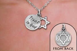 """<br>WHOLESALE RELIGIOUS FASHION JEWELRY<bR>                   LEAD & NICKEL FREE!! <BR>W21210N - BEAUTIFUL SILVER TONE TWO CHARM <BR> """"TRUST IN GOD"""" AND STAR OF DAVID <BR> TONE LOBSTER CLASP CHAIN NECKLACE <BR>              FROM $5.06 TO $11.25 �2014"""