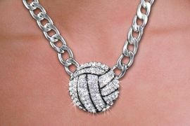 <br>WHOLESALE VOLLEYBALL FASHION JEWELRY<bR>                   LEAD & NICKEL FREE!! <BR>W21211N - BEAUTIFUL SILVER TONE LARGE LINK <BR> AUSTRIAN CRYSTAL VOLLEYBALL <BR> LOBSTER CLASP CHAIN NECKLACE <BR>              FROM $4.50 TO $10.00 �2014