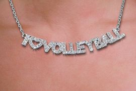 <br>WHOLESALE VOLLEYBALL FASHION JEWELRY<bR>                   LEAD & NICKEL FREE!! <BR>W21212N - BEAUTIFUL SILVER TONE <BR> AUSTRIAN CRYSTAL I LOVE VOLLEYBALL <BR> LOBSTER CLASP CHAIN NECKLACE <BR>              FROM $4.50 TO $10.00 �2014