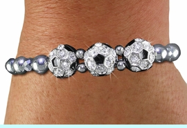 <BR> WHOLESALE SPORTS FASHION JEWELRY <Br>               LEAD & NICKEL FREE!! <BR> W21236B - BRIGHT, POLISHED SILVER <BR> TONE BEAD STRETCH BRACELET WITH <Br>THREE CRYSTAL MINI SOCCER BALL CHARMS <BR>         FROM $5.63 TO $12.50 �2014