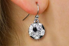 <BR>      WHOLESALE SOCCER JEWELRY<bR>            EXCLUSIVELY OURS!! <BR>       AN ALLAN ROBIN DESIGN!! <BR> CADMIUM, LEAD & NICKEL FREE!! <BR> W21237E - SILVER TONE AND CRYSTAL <Br>  MINI SOCCER BALL CHARM EARRINGS <BR>     FROM $3.15 TO $7.50 �2014