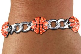 <BR> WHOLESALE SPORTS FASHION JEWELRY <Br>               LEAD & NICKEL FREE!! <BR> W21246B - BRIGHT, POLISHED SILVER <BR> TONE CHAIN LINK BRACELET WITH <Br>THREE CRYSTAL MINI BASKETBALL CHARMS <BR>         FROM $4.50 TO $10.00 �2014