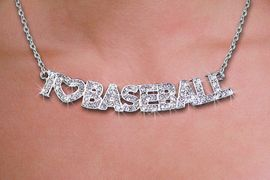 "<br>WHOLESALE BASEBALL FASHION JEWELRY<bR>                   LEAD & NICKEL FREE!! <BR>W21249N - BEAUTIFUL SILVER TONE <BR> AUSTRIAN CRYSTAL ""I LOVE BASEBALL"" <BR> LOBSTER CLASP CHAIN NECKLACE <BR>              FROM $4.50 TO $10.00 �2014"