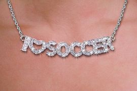 """<br>WHOLESALE SOCCER FASHION JEWELRY<bR>                   LEAD & NICKEL FREE!! <BR> W21256N - BEAUTIFUL SILVER TONE <BR> AUSTRIAN CRYSTAL """"I LOVE SOCCER"""" <BR> LOBSTER CLASP CHAIN NECKLACE <BR>              FROM $4.50 TO $10.00 �2014"""