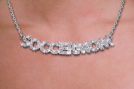 """<br>WHOLESALE SOCCER FASHION JEWELRY<bR>                   LEAD & NICKEL FREE!! <BR> W21257N - BEAUTIFUL SILVER TONE <BR> AUSTRIAN CRYSTAL """"SOCCER MOM"""" <BR> LOBSTER CLASP CHAIN NECKLACE <BR>              FROM $4.50 TO $10.00 �2014"""