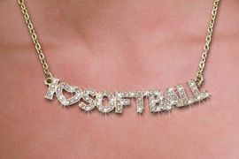 """<br>WHOLESALE FOOTBALL FASHION JEWELRY<bR>                   LEAD & NICKEL FREE!! <BR>   W21259N - BEAUTIFUL GOLD TONE <BR> AUSTRIAN CRYSTAL """"I LOVE SOFTBALL"""" <BR> LOBSTER CLASP CHAIN NECKLACE <BR>              FROM $4.50 TO $10.00 �2014"""