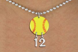 <Br>                  EXCLUSIVELY OURS!!<Br>            AN ALLAN ROBIN DESIGN!!<Br>                 LEAD & NICKEL FREE!! <BR>       THIS IS A PERSONALIZED ITEM <Br>W21265N - SILVER TONE BALL CHAIN <BR>NECKLACE AND YELLOW SOFTBALL PENDANT <BR>         WITH YOUR TEAM NUMBER <BR>        FROM $7.65 TO $17.00 �2014