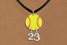 <Br>                  EXCLUSIVELY OURS!!<Br>            AN ALLAN ROBIN DESIGN!!<Br>                 LEAD & NICKEL FREE!! <BR>       THIS IS A PERSONALIZED ITEM <Br>W21266N - BLACK SUEDE LEATHERETTE <BR>NECKLACE AND YELLOW SOFTBALL PENDANT <BR>         WITH YOUR TEAM NUMBER <BR>        FROM $7.65 TO $17.00 �2014