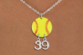 <Br>                  EXCLUSIVELY OURS!!<Br>            AN ALLAN ROBIN DESIGN!!<Br>                 LEAD & NICKEL FREE!! <BR>       THIS IS A PERSONALIZED ITEM <Br>W21267N - SILVER TONE LOBSTER CLASP <BR>NECKLACE AND YELLOW SOFTBALL PENDANT <BR>         WITH YOUR TEAM NUMBER <BR>        FROM $7.65 TO $17.00 �2014