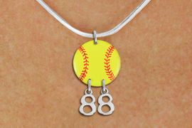 <Br>                  EXCLUSIVELY OURS!!<Br>            AN ALLAN ROBIN DESIGN!!<Br>                 LEAD & NICKEL FREE!! <BR>       THIS IS A PERSONALIZED ITEM <Br>W21268N - SILVER TONE SNAKE CHAIN <BR>NECKLACE AND YELLOW SOFTBALL PENDANT <BR>         WITH YOUR TEAM NUMBER <BR>        FROM $7.65 TO $17.00 �2014