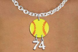 <Br>                  EXCLUSIVELY OURS!!<Br>            AN ALLAN ROBIN DESIGN!!<Br>                 LEAD & NICKEL FREE!! <BR>       THIS IS A PERSONALIZED ITEM <Br>W21269N - SILVER TONE TOGGLE CLASP <BR>NECKLACE AND YELLOW SOFTBALL PENDANT <BR>         WITH YOUR TEAM NUMBER <BR>        FROM $7.65 TO $17.00 �2014