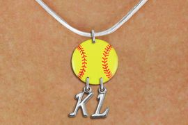 <Br>                  EXCLUSIVELY OURS!!<Br>            AN ALLAN ROBIN DESIGN!!<Br>                 LEAD & NICKEL FREE!! <BR>       THIS IS A PERSONALIZED ITEM <Br>W21271N - SILVER TONE SNAKE CHAIN <BR>NECKLACE AND YELLOW SOFTBALL PENDANT <BR>            WITH YOUR INITIALS <BR>        FROM $7.65 TO $17.00 �2014