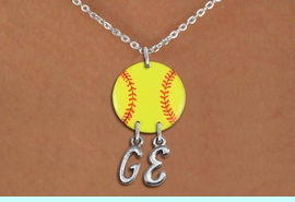 <Br>                  EXCLUSIVELY OURS!!<Br>            AN ALLAN ROBIN DESIGN!!<Br>                 LEAD & NICKEL FREE!! <BR>       THIS IS A PERSONALIZED ITEM <Br>W21272N - SILVER TONE LOBSTER CLASP <BR>NECKLACE AND YELLOW SOFTBALL PENDANT <BR>            WITH YOUR INITIALS <BR>        FROM $7.65 TO $17.00 �2014