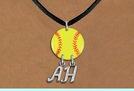 <Br>                  EXCLUSIVELY OURS!!<Br>            AN ALLAN ROBIN DESIGN!!<Br>                 LEAD & NICKEL FREE!! <BR>       THIS IS A PERSONALIZED ITEM <Br>W21273N - BLACK SUEDE LEATHERETTE <BR>NECKLACE AND YELLOW SOFTBALL PENDANT <BR>            WITH YOUR INITIALS <BR>        FROM $7.65 TO $17.00 �2014