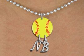 <Br>                  EXCLUSIVELY OURS!!<Br>            AN ALLAN ROBIN DESIGN!!<Br>                 LEAD & NICKEL FREE!! <BR>       THIS IS A PERSONALIZED ITEM <Br>W21274N - SILVER TONE BALL CHAIN <BR>NECKLACE AND YELLOW SOFTBALL PENDANT <BR>            WITH YOUR INITIALS <BR>        FROM $7.65 TO $17.00 �2014