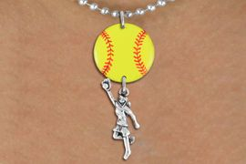 <Br>                  EXCLUSIVELY OURS!!<Br>            AN ALLAN ROBIN DESIGN!!<Br>                 LEAD & NICKEL FREE!! <Br>W21275N - SILVER TONE BALL CHAIN <BR>NECKLACE AND YELLOW SOFTBALL PENDANT <BR>WITH GIRL CATCHING BALL CHARM <BR>        FROM $7.31 TO $16.25 �2014