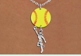 <Br>                  EXCLUSIVELY OURS!!<Br>            AN ALLAN ROBIN DESIGN!!<Br>                 LEAD & NICKEL FREE!! <Br>W21277N - SILVER TONE LOBSTER CLASP <BR>NECKLACE AND YELLOW SOFTBALL PENDANT <BR>WITH GIRL CATCHING BALL CHARM <BR>        FROM $7.31 TO $16.25 �2014