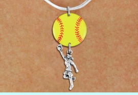 <Br>                  EXCLUSIVELY OURS!!<Br>            AN ALLAN ROBIN DESIGN!!<Br>                 LEAD & NICKEL FREE!! <Br>W21278N - SILVER TONE SNAKE CHAIN <BR>NECKLACE AND YELLOW SOFTBALL PENDANT <BR>WITH GIRL CATCHING BALL CHARM <BR>        FROM $7.31 TO $16.25 �2014