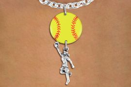 <Br>                  EXCLUSIVELY OURS!!<Br>            AN ALLAN ROBIN DESIGN!!<Br>                 LEAD & NICKEL FREE!! <Br>W21279N - SILVER TONE TOGGLE CLASP <BR>NECKLACE AND YELLOW SOFTBALL PENDANT <BR>WITH GIRL CATCHING BALL CHARM <BR>        FROM $7.31 TO $16.25 �2014