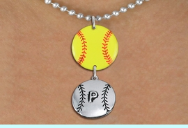 <Br>                  EXCLUSIVELY OURS!!<Br>            AN ALLAN ROBIN DESIGN!!<Br>                 LEAD & NICKEL FREE!! <Br>W21280N - SILVER TONE BALL CHAIN <BR>NECKLACE AND YELLOW SOFTBALL PENDANT <BR>WITH CUSTOM POSITION BALL CHARM<BR>        FROM $7.31 TO $16.25 �2014
