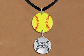 <Br>                  EXCLUSIVELY OURS!!<Br>            AN ALLAN ROBIN DESIGN!!<Br>                 LEAD & NICKEL FREE!! <Br>W21281N - BLACK SUEDE LEATHERETTE <BR>NECKLACE AND YELLOW SOFTBALL PENDANT <BR>WITH CUSTOM POSITION BALL CHARM<BR>        FROM $7.31 TO $16.25 �2014