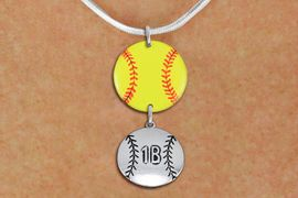 <Br>                  EXCLUSIVELY OURS!!<Br>            AN ALLAN ROBIN DESIGN!!<Br>                 LEAD & NICKEL FREE!! <Br>W21283N - SILVER TONE SNAKE CHAIN <BR>NECKLACE AND YELLOW SOFTBALL PENDANT <BR>WITH CUSTOM POSITION BALL CHARM<BR>        FROM $7.31 TO $16.25 �2014