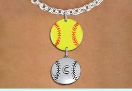 <Br>                  EXCLUSIVELY OURS!!<Br>            AN ALLAN ROBIN DESIGN!!<Br>                 LEAD & NICKEL FREE!! <Br>W21284N - SILVER TONE TOGGLE CLASP <BR>NECKLACE AND YELLOW SOFTBALL PENDANT <BR>WITH CUSTOM POSITION BALL CHARM<BR>        FROM $7.31 TO $16.25 �2014