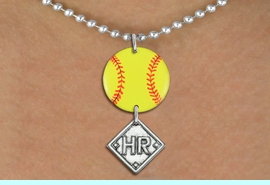 <Br>                  EXCLUSIVELY OURS!!<Br>            AN ALLAN ROBIN DESIGN!!<Br>                 LEAD & NICKEL FREE!! <Br>W21285N - SILVER TONE BALL CHAIN <BR>NECKLACE AND YELLOW SOFTBALL PENDANT <BR>WITH CUSTOM POSITION DIAMOND CHARM<BR>        FROM $7.31 TO $16.25 �2014