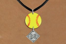 <Br>                  EXCLUSIVELY OURS!!<Br>            AN ALLAN ROBIN DESIGN!!<Br>                 LEAD & NICKEL FREE!! <Br>W21286N - BLACK SUEDE LEATHERETTE <BR>NECKLACE AND YELLOW SOFTBALL PENDANT <BR>WITH CUSTOM POSITION DIAMOND CHARM<BR>        FROM $7.31 TO $16.25 �2014