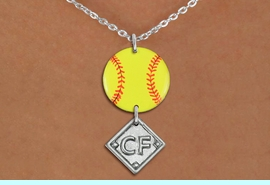 <Br>                  EXCLUSIVELY OURS!!<Br>            AN ALLAN ROBIN DESIGN!!<Br>                 LEAD & NICKEL FREE!! <Br>W21287N - SILVER TONE LOBSTER CLASP <BR>NECKLACE AND YELLOW SOFTBALL PENDANT <BR>WITH CUSTOM POSITION DIAMOND CHARM<BR>        FROM $7.31 TO $16.25 �2014
