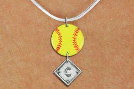 <Br>                  EXCLUSIVELY OURS!!<Br>            AN ALLAN ROBIN DESIGN!!<Br>                 LEAD & NICKEL FREE!! <Br>W21288N - SILVER TONE SNAKE CHAIN <BR>NECKLACE AND YELLOW SOFTBALL PENDANT <BR>WITH CUSTOM POSITION DIAMOND CHARM<BR>        FROM $7.31 TO $16.25 �2014