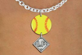 <Br>                  EXCLUSIVELY OURS!!<Br>            AN ALLAN ROBIN DESIGN!!<Br>                 LEAD & NICKEL FREE!! <Br>W21289N - SILVER TONE TOGGLE CLASP <BR>NECKLACE AND YELLOW SOFTBALL PENDANT <BR>WITH CUSTOM POSITION DIAMOND CHARM<BR>        FROM $7.31 TO $16.25 �2014