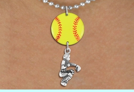 <Br>                  EXCLUSIVELY OURS!!<Br>            AN ALLAN ROBIN DESIGN!!<Br>                 LEAD & NICKEL FREE!! <Br>W21290N - SILVER TONE BALL CHAIN <BR>NECKLACE AND YELLOW SOFTBALL PENDANT <BR>WITH SOFTBALL CATCHER CHARM <BR>        FROM $7.31 TO $16.25 �2014