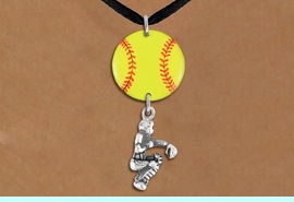 <Br>                  EXCLUSIVELY OURS!!<Br>            AN ALLAN ROBIN DESIGN!!<Br>                 LEAD & NICKEL FREE!! <Br>W21291N - BLACK SUEDE LEATHERETTE <BR>NECKLACE AND YELLOW SOFTBALL PENDANT <BR>WITH SOFTBALL CATCHER CHARM <BR>        FROM $7.31 TO $16.25 �2014
