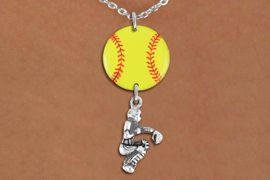 <Br>                  EXCLUSIVELY OURS!!<Br>            AN ALLAN ROBIN DESIGN!!<Br>                 LEAD & NICKEL FREE!! <Br>W21292N - LOBSTER CLASP CHAIN <BR>NECKLACE AND YELLOW SOFTBALL PENDANT <BR>WITH SOFTBALL CATCHER CHARM <BR>        FROM $7.31 TO $16.25 �2014