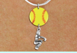 <Br>                  EXCLUSIVELY OURS!!<Br>            AN ALLAN ROBIN DESIGN!!<Br>                 LEAD & NICKEL FREE!! <Br>W21293N - SILVER TONE SNAKE CHAIN <BR>NECKLACE AND YELLOW SOFTBALL PENDANT <BR>WITH SOFTBALL CATCHER CHARM <BR>        FROM $7.31 TO $16.25 �2014