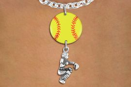 <Br>                  EXCLUSIVELY OURS!!<Br>            AN ALLAN ROBIN DESIGN!!<Br>                 LEAD & NICKEL FREE!! <Br>W21294N - SILVER TONE TOGGLE CLASP <BR>NECKLACE AND YELLOW SOFTBALL PENDANT <BR>WITH SOFTBALL CATCHER CHARM <BR>        FROM $7.31 TO $16.25 �2014