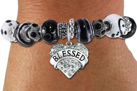 "<br> WHOLESALE FASHION BEADED JEWELRY<bR>     100% LEAD AND NICKEL FREE!!! <BR>W21295B - STYLISH SILVER TONE <BR>BLACK AND WHITE UNIQUE BEADED BRACELET<BR>  WITH ""BLESSED"" CRYSTAL HEART CHARM <BR>       FROM $15.75 TO $35.00 �2014"