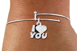 "<BR>      WHOLESALE CHARM BRACELET <BR>     LEAD, CADMIUM & NICKEL FREE!!  <BR>    W21303B - BRIGHT SILVER TONE  <BR>     ADJUSTABLE CHARM BRACELET WITH <br>  SILVER TONE ""I LOVE YOU"" CHARM <BR>         FOR $7.75 EACH! &#169;2014"