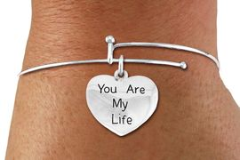 "<BR>      WHOLESALE CHARM BRACELET <BR>     LEAD, CADMIUM & NICKEL FREE!!  <BR>    W21304B - BRIGHT SILVER TONE  <BR>     ADJUSTABLE CHARM BRACELET WITH <br>SILVER TONE ""YOU ARE MY LIFE"" HEART <BR>   CHARM FOR $7.75 EACH! &#169;2014"