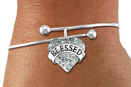 "<BR>      WHOLESALE CHARM BRACELET <BR>     LEAD, CADMIUM & NICKEL FREE!!  <BR>    W21310B - BRIGHT SILVER TONE  <BR>     ADJUSTABLE CHARM BRACELET WITH <br>OLIVE CRYSTAL ""BLESSED"" HEART CHARM <BR>         FOR $10.75 EACH! &#169;2014"